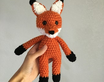 Crochet Orange Fox Doll stuffed crochet fox toy fox orange fox plushie