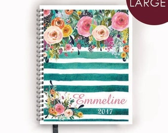 Large Planner with Personalized Cover with Watercolor Florals on Teal Stripes Design