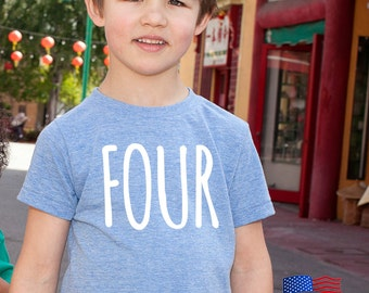 Fourth Birthday 'Four' Tri Blend Toddler Kids T-Shirt