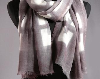 Wool Scarf Large Shibori Shawl in Gray and White