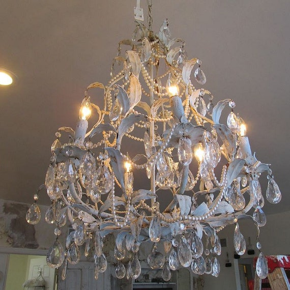 Mother Of Pearl Cream Flower 3 Tier Large Decor Vase: Painted Vintage Crystal Chandelier Lighting By