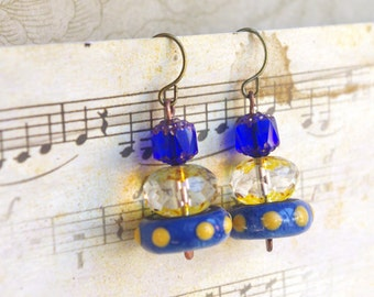 Yellow King blue earrings, Lightweight Stack earrings, Petite earrings, Cairn earring, disc stacked jewelry, donut stacking jewellery