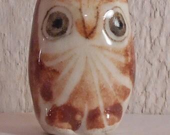 Folk art pottery owl vintage animal figurine 1970s miniature Mexican bird