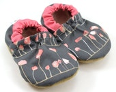 grey flower shoes baby girl booties pink and gray shoes soft sole shoes for baby girl flower booties vegan baby shoes baby shower gift