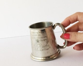 ON SALE Vintage English Pewter Baby Cup, Engraved Nursery Rhyme Baby Cup, Hey Diddle Diddle Baby Tankard New Baby Christening Gift Sheffield