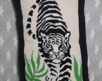 AMAZING! Fierce Tiger Pillow, Re-Purposed Needlepoint!  Crazy Detail!