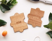 You & Me Wood Puzzle Card - Love Card for Anniversary Gift, Wooden Valentine Card, Missing Piece Card