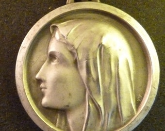 Antique Large  French Religious Catholic  Medal Virgin Mary    Antique Pendant Old  Charm  jewelry J1