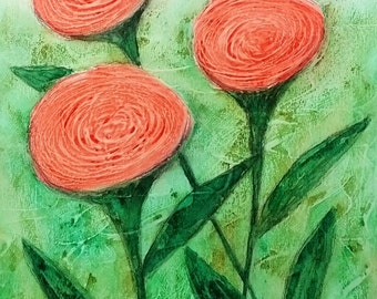 Orange Poppies Abstract Flowers Textured Mixed Media Whimsical Summer Garden Flowers
