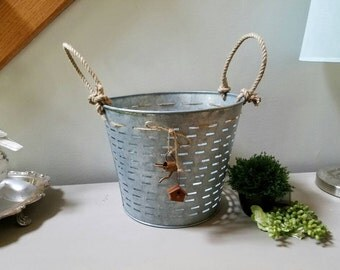 Galvanized Olive Basket Farmhouse