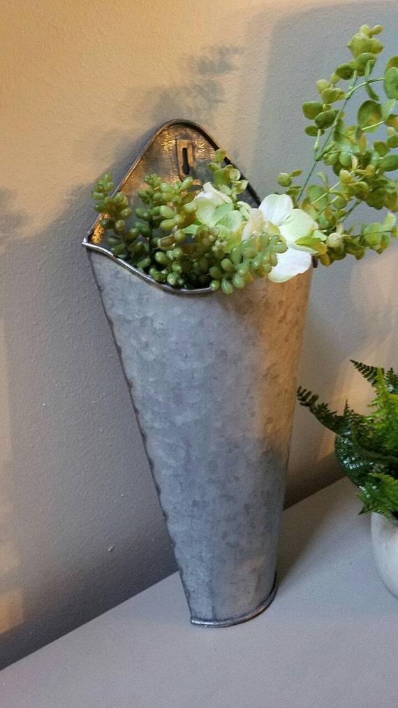 galvanized wall pocket planter farmhouse. Black Bedroom Furniture Sets. Home Design Ideas