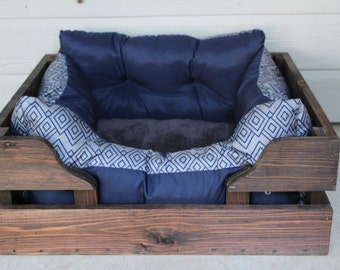 SMALL Rustic cedar dog bed wooden pet crate bed frame