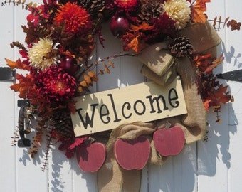 Welcome Wreath, Country Fall Wreath, Fall Door Wreath, Fall Front Door Wreath, Pinecone Wreath, Apples, Mums, Fall leaves, Burlap Bow