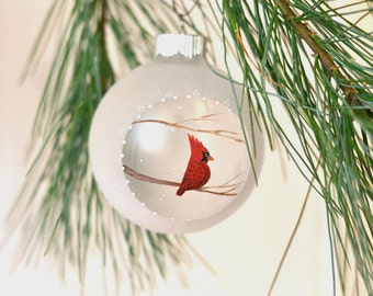 Cardinal Christmas ornament handpainted ornament cardinal ornament gift under 25 rustic bird ornament Christmas tree nature lover gift