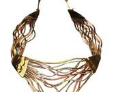 Brutalist Brass Bib Necklace  Brass and copper silver design Modernistic
