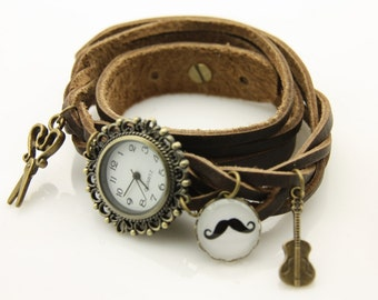 bracelet Brown leather strap black mustache