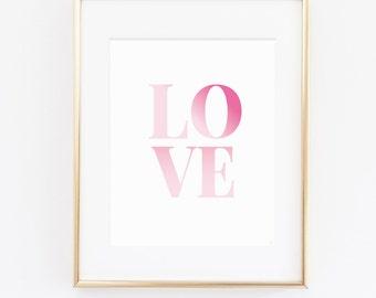 INSTANT DOWNLOAD Printable Wall art, Wall Art, Wall Art Prints, Wall Decor, Inspirational, Art Print, Typography-LOVE Digital Art Print