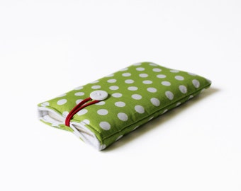 green mobile case for iPhone, mobile phone cover dotted dots handmade cotton fabric 6S, 6 plus, 5 5S white red