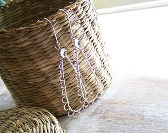 Sterling Silver Teardrop Earrings, Wire Wrapped Sterling Silver Dangle Earrings, Chandelier Earring, Gypsy Earring, Boho Earrings