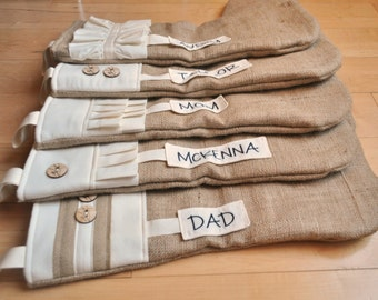 Rustic Stockings - Personalized Custom Burlap Stockings - Burlap Christmas Stockings