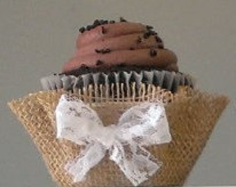 Burlap Lace Cupcake Wrappers  Papers Unique Wedding Southern Favors Party Decor Rustic Shabby Party Cups