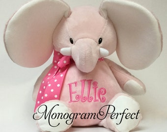 "16"" Personalized Light Pink Plush Stuffed Elephant Soft Toy"