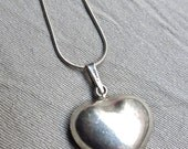 70s Sterling Silver Mexican Heart Necklace - Solid Sterling - Signed