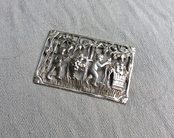 40s Large Sterling Silver Brooch Featuring Cherubs Making Wine