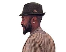 Vintage Knox Hat, Olive Green Fur Felt Fedora, Fur Felt Trilby, Stingy Brim Fedora, Knox Hallmark Fedora, Olive Green Mens Hat, Size S