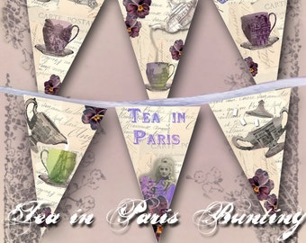 Tea in Paris Bunting - French Tea Party Garland - Printable Banner - Instant Download