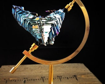 Bismuth Crystal, Iridescent, Fractal, Unique Art Sculpture in a Brass Stand - House Warming Gift