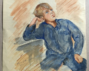 Young boy portrait, Watercolour of blue eyed boy, 1940s child in blue shirt, Blonde haired boy painting, Original portrait of a child