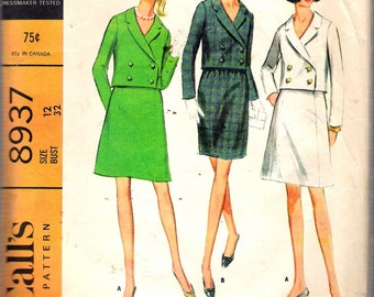 Vintage 1967 McCall's 8937 Misses' Suit with Slim or Full Skirt Sewing Pattern Size 12 Bust 34""