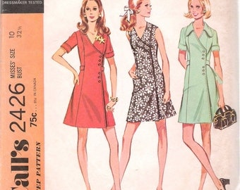 """Vintage 1970 McCall's 2426 Retro Wrap Dress in Three Versions Sewing Pattern Size 10 Bust 32 1/2"""""""