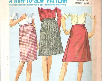 Vintage 1966 Simplicity 6647 Teens & Juniors Set of Skirts Sewing Pattern Size 13 Waist 25 1/2""