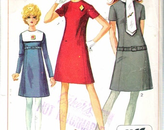 Vintage 1968 Simplicity 7848 Mod Dress with Detachable Collars Sewing Pattern Size 10 Bust 32 1/2""