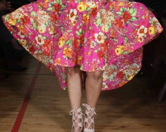 High-Low Floral Skirt with in seam pockets- Plus Size