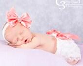 Newborn Headband and Bloomers, Newborn Photo Outfit, Newborn Ruffle Diaper Cover,Lace Bloomers, Ruffle Diaper Cover, Baby Bow Headband
