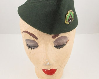 United States Army Type II, Class 4 Garrison Cap - Dark Green Wool - Size 7 1/4 - 'Mission-Suppport-Success' Enameled Tack Pin - Militaria