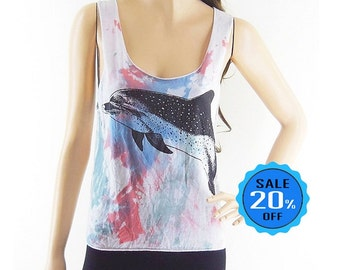 Whale Dolphin tank Cute tee funny tees summer Animal Design Tank Top Dyed Fabrics Women Crop Top Tee Shirt Whale T-Shirt Screen Print Size S