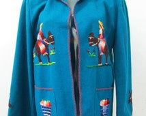 1940s Mexican Souvenir Jacket in Wool with Donkeys and Fruit and Mexican Scenery