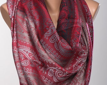 Valentine's Day Scarf Wrap or Shawl or Neck Wrap. New Pashmina scarf. Dark RED and Gray.