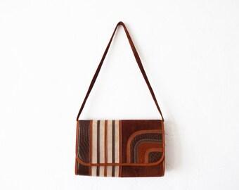 Vintage 1970s Mont-Abur Brown and Tan Geometric Genuine Leather Shoulder Bag Purse / Convertible Clutch