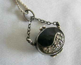 Miniature Pocketbook Purse 925 Silver Onyx and Cubic Zirconia Pendant | Vintage