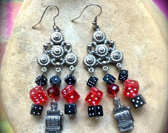 VEGAS JACKPOT EARRINGS-Red and Black Dice-Gambling Theme-Slot Machines- 3 Seven's-Good Luck-Slots-Casino-Money-Roll the Dice-Roulette-Craps