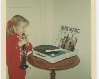Amy with her New Record Player c1960s: Vintage Snapshot Photo (67482)