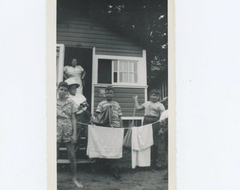 Boy's Camp; Young Photographer, 1949 : Vintage Snapshot Photo (67482)