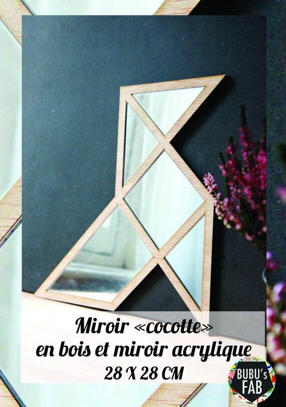 Miroir cocotte origami en bois et miroir acrylique lasercut for Miroir en acrylique