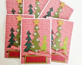 Christmas card set of 6 with Christmas tree trio