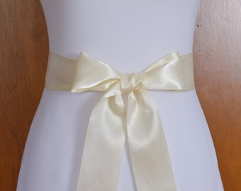 Ivory Satin Bridal Sash - Ivory Wedding Sash - Double Face Satin Sash - Ivory Bridal sash for Dress - Ivory Bridal Sash Belt